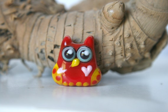 Lampwork, Glass, Bead, Owl, Talisman with heart, Two-tone shades of  red and yellow, with dots, By Ghirigori Glass