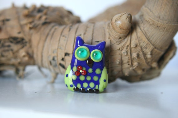 Lampwork, Glass, Bead, Owl, Talisman,  with flower Two-tone shades of blue and green., with dots, By Ghirigori Glass