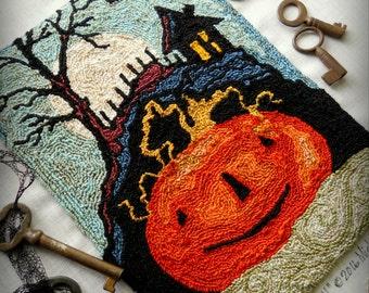 Jack O Lantern Pumpkin Harvest Full Moon halloween Punch Needle Embroidery DIGITAL Jpeg and PDF PATTERN Michelle Palmer Painting w/Threads