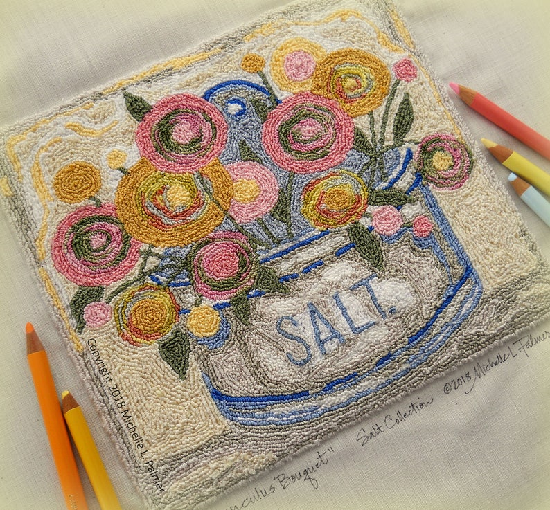 Ranunculus Flower Bouquet Salt Box Collection Series Punch image 0