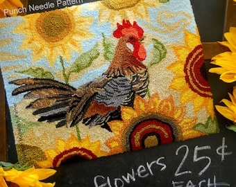 Punch Needle Embroidery DIGITAL Download Jpeg and PDF Pattern Michelle Palmer Rise Shine Sunflower Patch Rooster Welsummer Chicken Farmyard