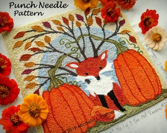 Punch Needle Embroidery DIGITAL Download Jpeg and PDF PATTERN Michelle Palmer Red Fox Orange Pumpkins Blue Harvest Moon Fall Leaves 1 of 3