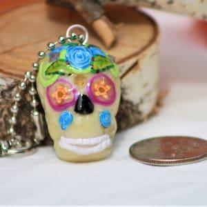 Polymer Clay Skull Glass Beads Purple Hair