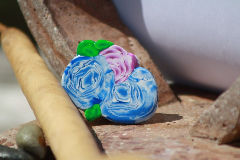 Pin Two Blue Pink Roses Clay Cane Pin