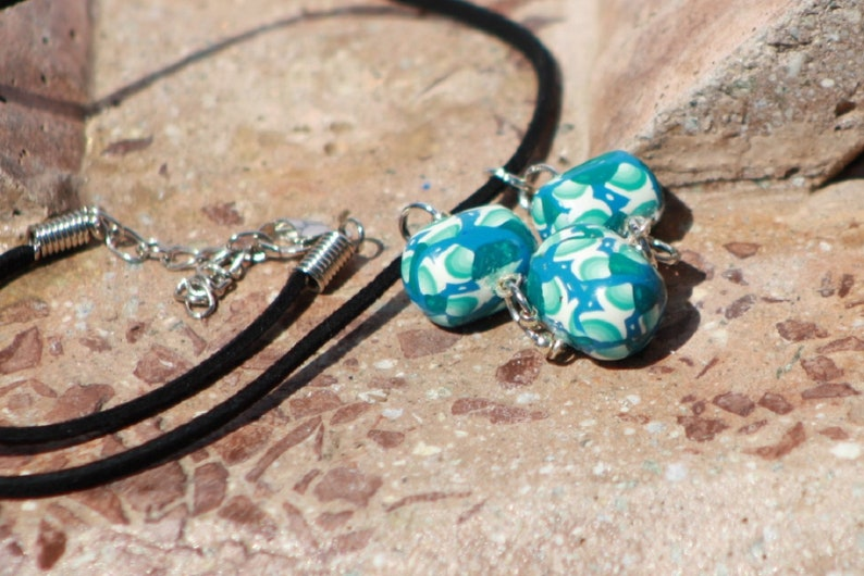 Necklace Teal Fade Clay Cane Three Dangle Pendant