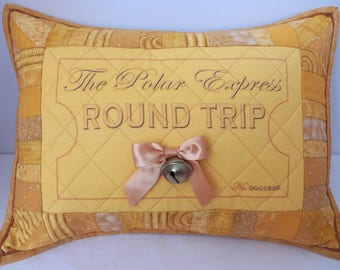 Polar Express Quilted Pillow Sham   Round Trip Ticket Pillow Cover   Believe Bell Quilted Pillow   Christmas Movie Decor   Holiday Tradition