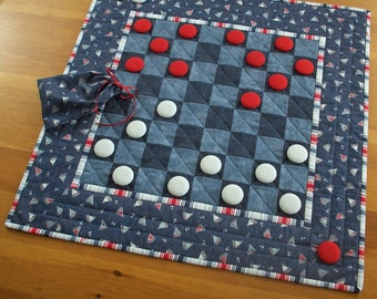 Nautical Quilted Checkerboard Game Table Runner | Sailboat Checkers Home Decor Game Activity | Seaside Vacation Home Beach Housewarming Gift
