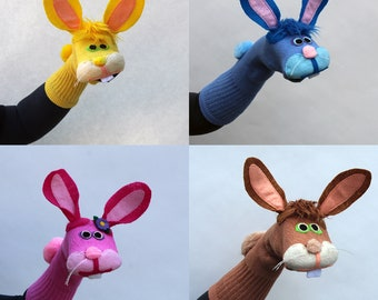 Bunny Rabbit Sock Puppet, Choose Your Color, Handmade, Couture, Made to Order