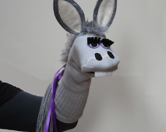 Delightful Donkey Sock Puppet, Heirloom Quality, Professionally Sewn, Handmade, Couture, 3 sizes Made to Order