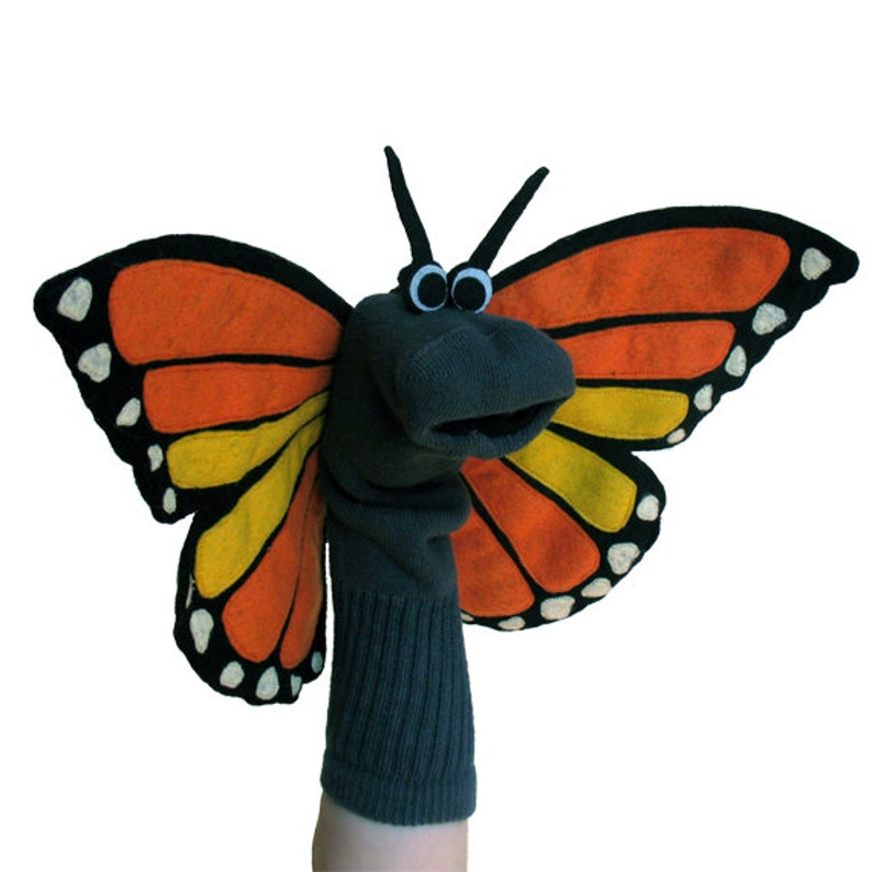 Professionally Sewn Child's Monarch Butterfly Sock image 0