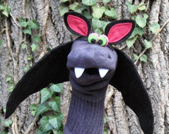 Funny Vampire Bat Sock Puppet, Handmade, Couture, Professionally Sewn, Made to Order