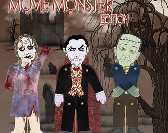 Monsters Puppet Kit. Makes 5 LARGE Puppets with Movable arms & legs, Fun, Creative, Easy, Halloween