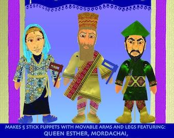 Purim Puppet Making Kit Featuring Esther, Vashti, Haman, Mordechai, King Achashverosh