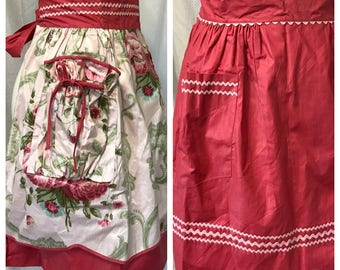 Vintage NOS 50s Reversible Polished Cotton Chintz Pink Rick Rack Half Apron