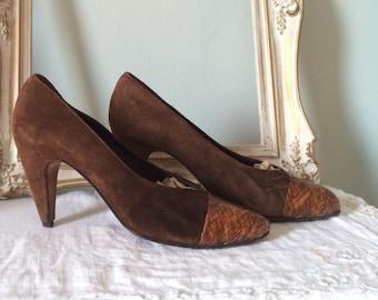 Wedge Heel Shoes La Badia Beautiful Black Suede Ladies 38  U.K Size: EUR Firenze 5  US 7.5