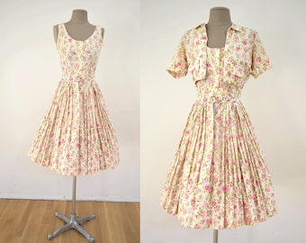 917d1c762ee Vintage 50s Dress   Bolero Jacket Pink Roses Cotton Sundress XS    1950s  pleated skirt 60s 1960s