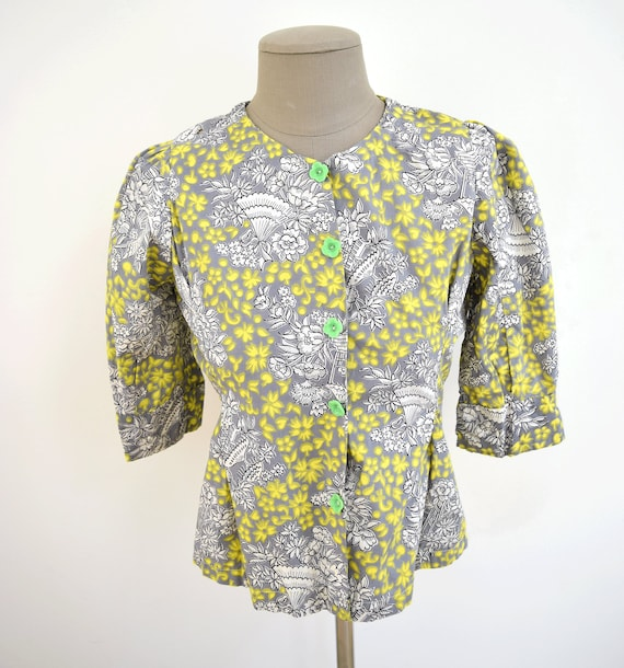 Vintage Yellow Gray 40s Half Sleeve Blouse with Gr