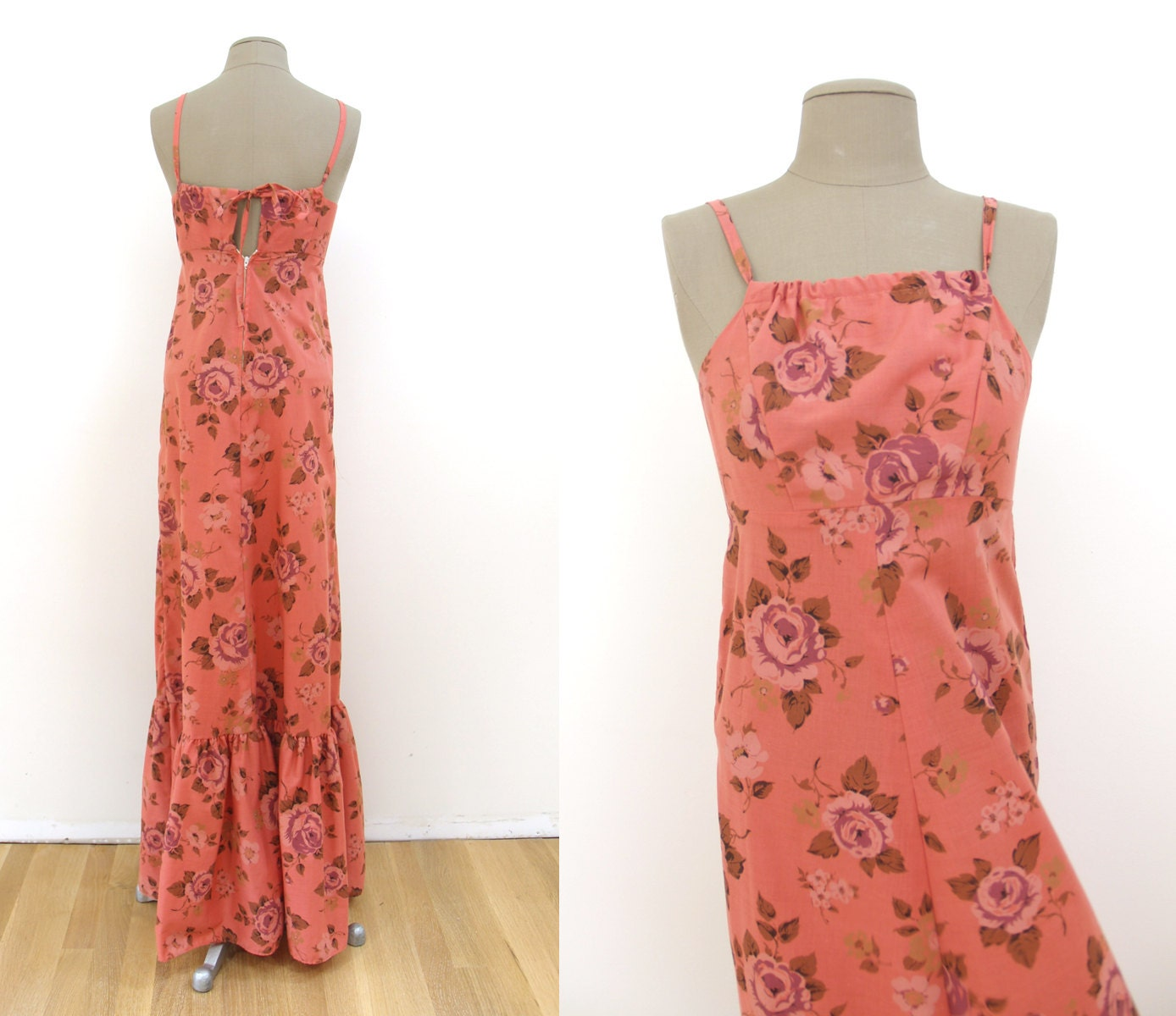 Vintage 70s rosado Floral Maxi Dress XS XS XS TALL    Hawaiian rose sundress 1970s tamaño extra small 1e7a1a