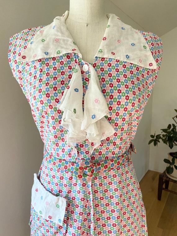 Vintage 1930s cotton floral dress with belt xxs xs
