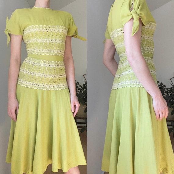 Vintage 1940s Chartreuse Doris Dodson linen dress