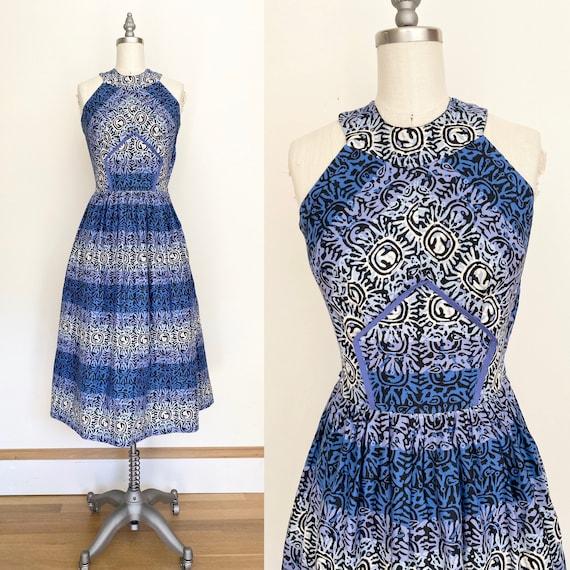 Vintage 50s Dress // extra small 1950s batik look