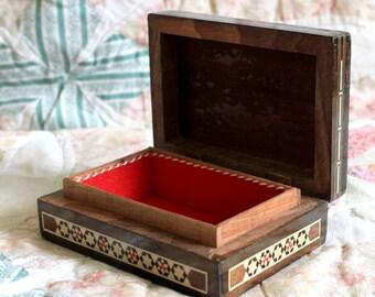 Vintage marquetry box,Mosaic Box,Wooden Box,Rustic Wood Box,Marquetry Box,Wood Jewellery Box,Hinged Box,Handmade Box,Laquered Box,rustic box