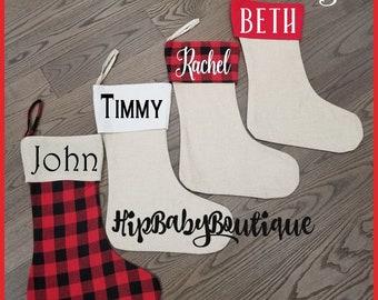 Christmas Stockings - Burlap Jute Stockings - Red Plaid - Christmas Stockings - Holiday Decor - Personalized Stockings - Buffalo Plaid