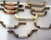 Vintage Lot of 10 Brass Wood Porcelain Cabinet Pulls-Vintage Drawer Pulls-Porcelain pulls-vintage home decor-