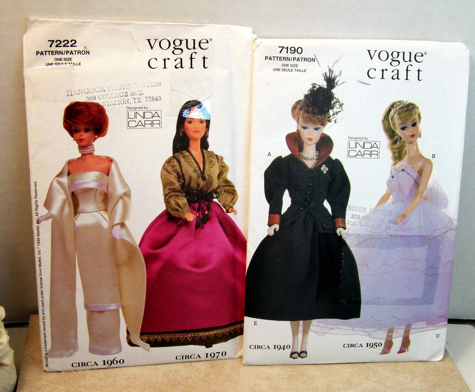 "Texas Woman  - Two Rare Vintage 1999 Vogue Patterns, 11 1/2"" Doll  Vintage Fashions"