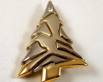"Vintage Liz Claiborne Silver Gold CHRISTMAS TREE Pin Brooch-2"" High"