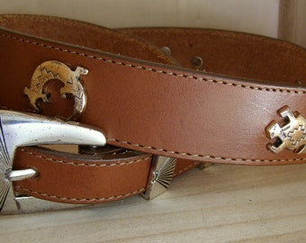 Vintage SILVER CREEK Animal Concho Leather Belt-USA-Womens Size 30