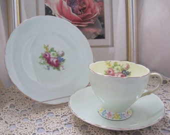 FOLEY English bone-china teacup, saucer and plate set (Trio) - Pale green and yellow with floralsprays - Pattern 2310