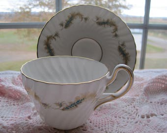 FOLEY English bone-china teacup and saucer set - Plumes of Gold, pattern#4516