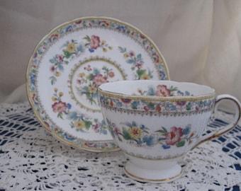 "FOLEY English bone-china teacup and saucer set - ""Adoration""  Pattern V2500"