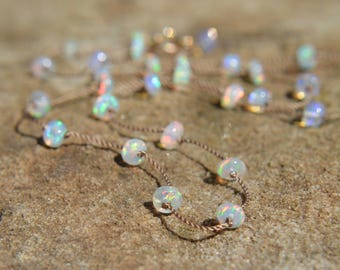 75a048ca431c91 Ethiopian Opal Knotted Silk Necklace Opal Choker