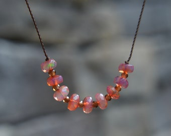 Coral Ethiopian Welo Opal and Zircon Knotted Silk Necklace