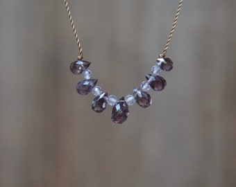 Plum Spinel Knotted Silk Necklace 15 Inches