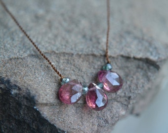 Rubellite Tourmaline Tiny Gem Necklace 16 Inches
