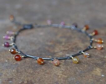 Warm Color Gemstone Bracelet Oxidized Sterling Silver and Gold
