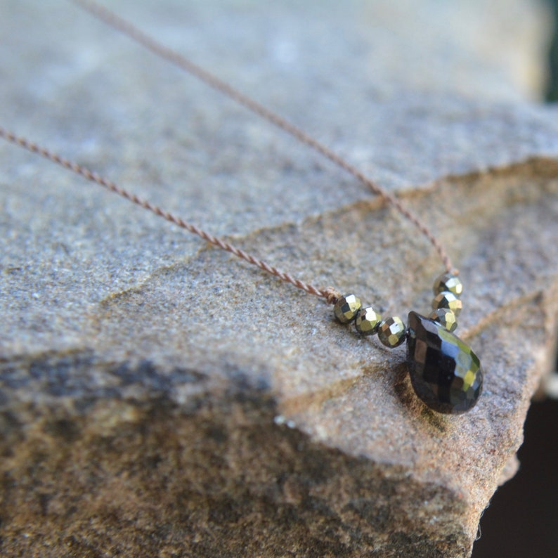 Black Spinel and Pyrite Knotted Silk Necklace Tiny Gem Necklace