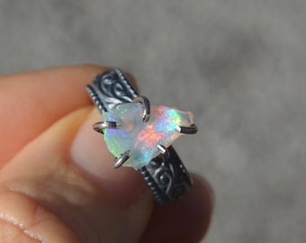 Ethiopian Opal Claw Ring Oxidized Sterling Silver Size 6