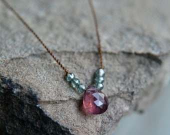 Rubellite Tourmaline Tiny Gem Necklace 18 Inches