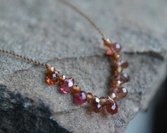Autumn Toned Spinel Knotted Silk Necklace Tiny Gem Necklace 16 Inches