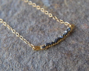 Raw Black Diamond Bar Necklace Diamond Necklace April Birthstone