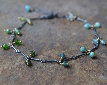 Blue and Green Gemstone Bracelet Oxidized Sterling Silver and Gold
