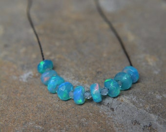 Turquoise Ethiopian Welo Opal and Blue Zircon Knotted Silk Necklace