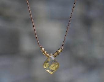 22k Gold Foil Quartz Doublet and Tourmaline Tiny Gem Necklace