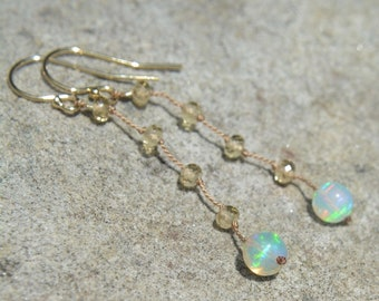 Ethiopian Opal Earrings with Champagne Citrine Knotted Silk October Birthstone