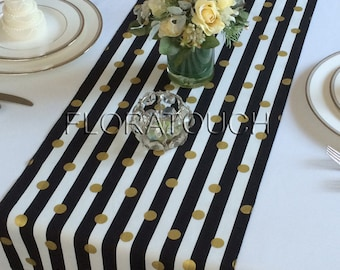 Black And White Striped Table Runner Wedding Table Runner Etsy