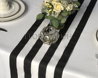a9ed40f4afa22f Black and White Striped Table Runner 10.5